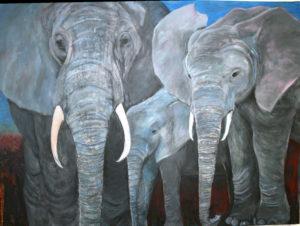 Elefantenfamilie 90x120