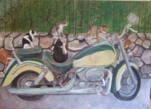 Motorrad-Katzen, 70 x 100 cm