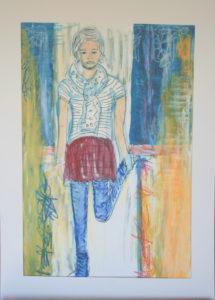 Teenie, Mischtechnik auf Papier, 40 x30 xm