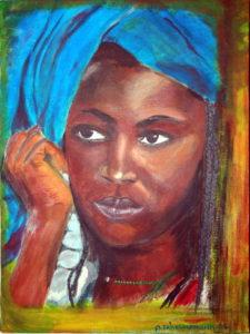 Tuareg Frau mit blauer Haube 40x30